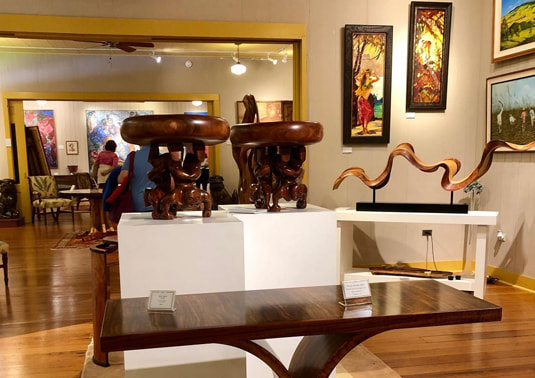 Photo of wood work at the Isaacs Art Center in Big Island by Hawaii Preparatory Academy (provided by Diana Mahaney)